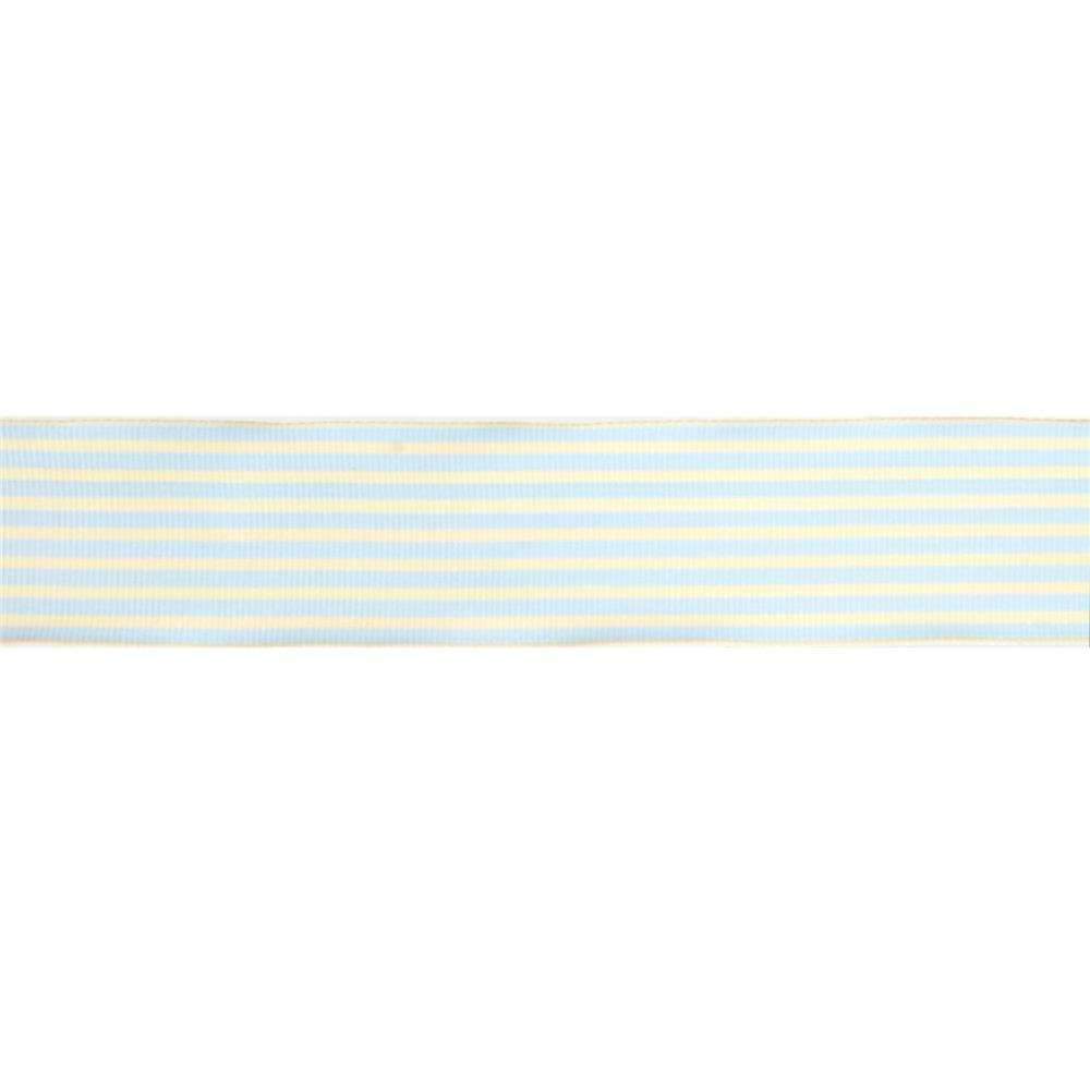 "May Arts 1 1/2""  Grosgrain Stripes Ribbon Spool Light Blue/Ivory"