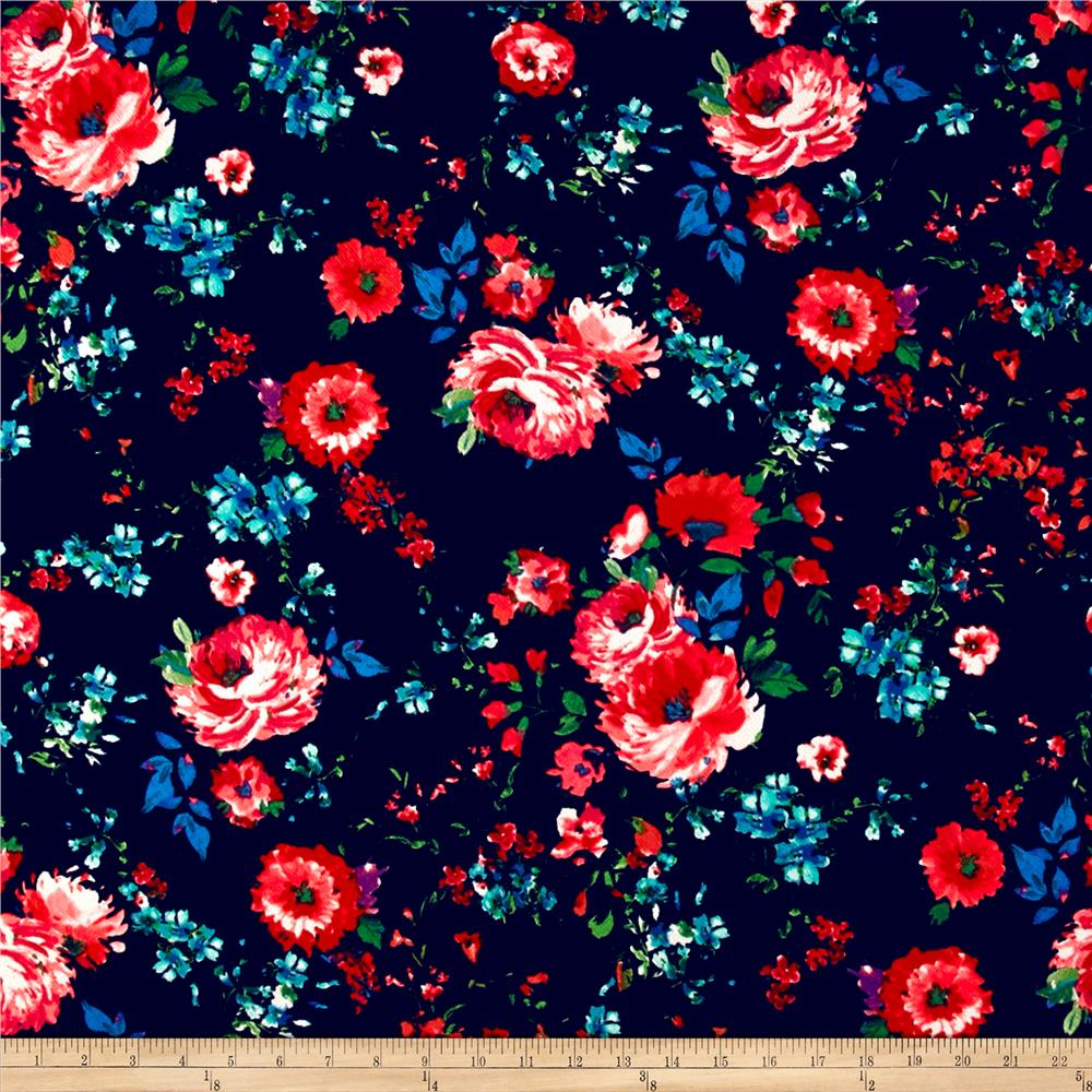 db35ba632c2 Liverpool Double Knit English Floral Multi on Navy - Discount ...
