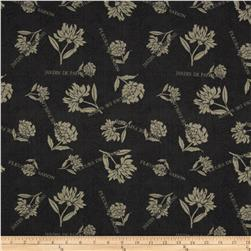 Twilight Blooms Words & Flowers Black-Grey