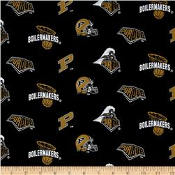 Collegiate Cotton Broadcloth Purdue University Black