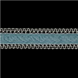 1 3/8'' Velvet Lace Trim Ivory/Light Blue
