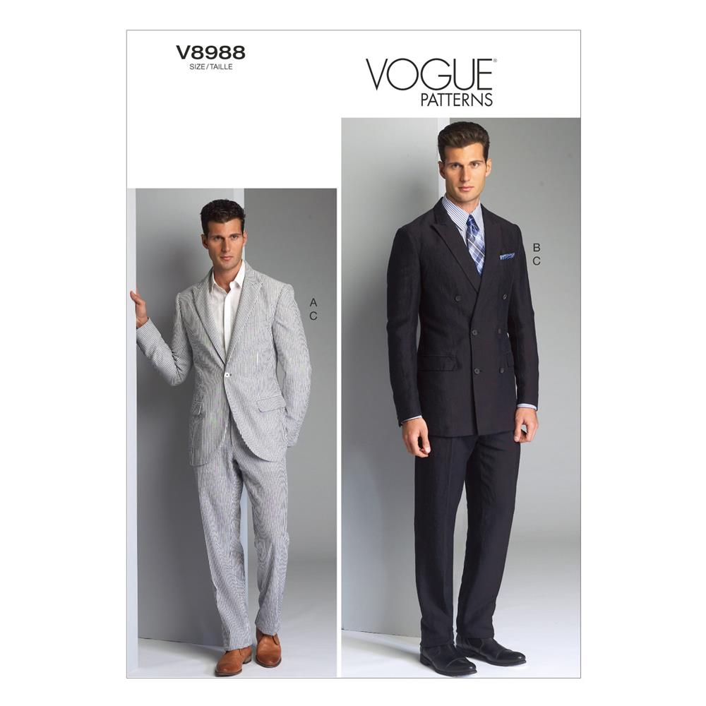 Vogue Men's Jacket and Pants Pattern V8988 Size MUU