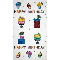 Happy Birthday Cakes & Presents Panel White Fabric
