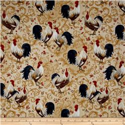 Rooster Inn  Roosters Scroll Ecru