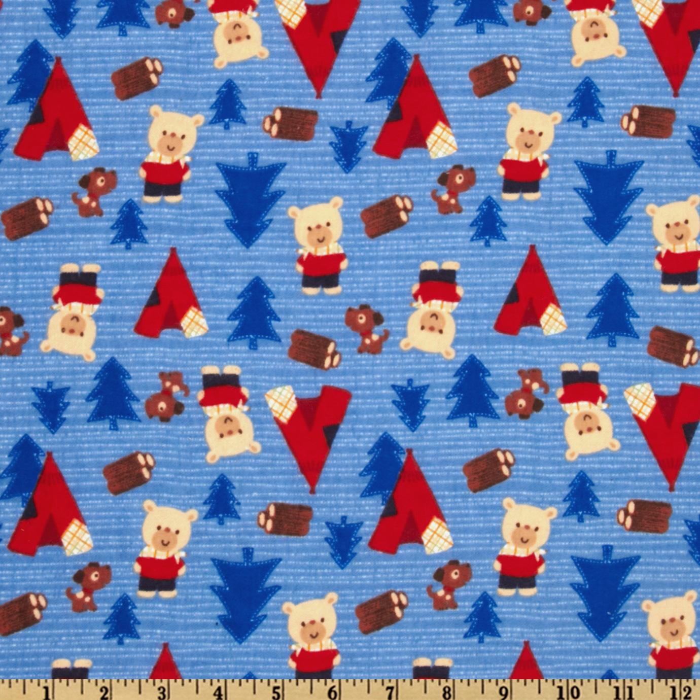 Camelot Flannel Camping Bears Blue Fabric