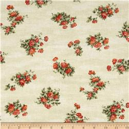 Cat Nap Tossed Flowers Cream/Orange Fabric