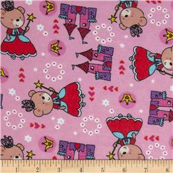 Teddy Bear Princess Flannel Princess Toss Pink