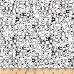 Poppy Panache Squares & Dots Black on White
