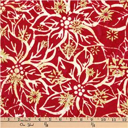 Kaufman Batiks Metallic Northwood Poinsettia Cranberry