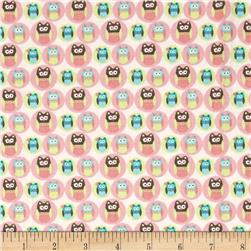 Fabric Freedom Woodland Animals Owls Pink