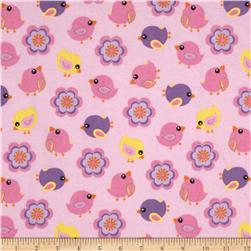 Comfy Flannel Tossed Birds and Flowers Pink