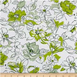 Cotton Lycra Knit Floral Sketch Green/White