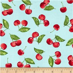 Robert Kaufman Kiss the Cook Cherries Aqua