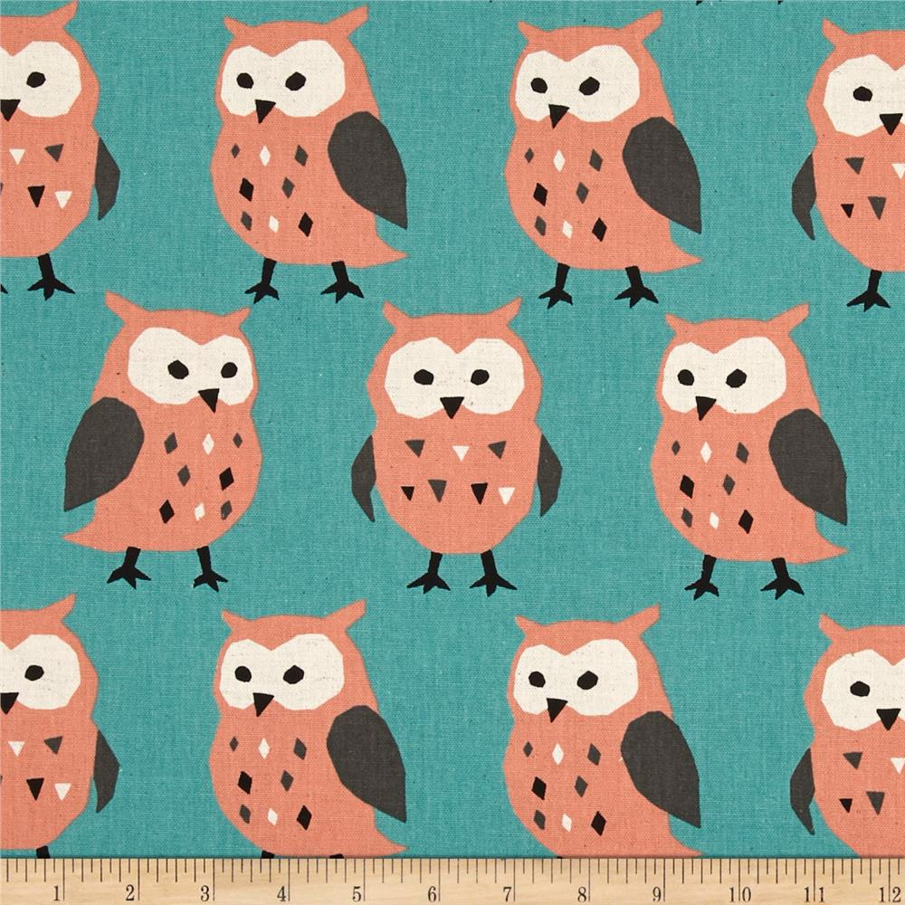 Kokka Trefle Linen Blend Canvas Owls Aqua