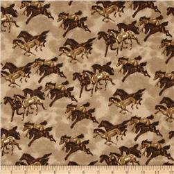 Comfy Flannel Horses Brown