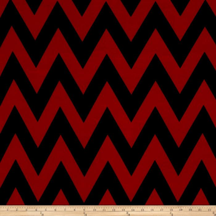 Stretch ITY Jersey Knit Chevron Red
