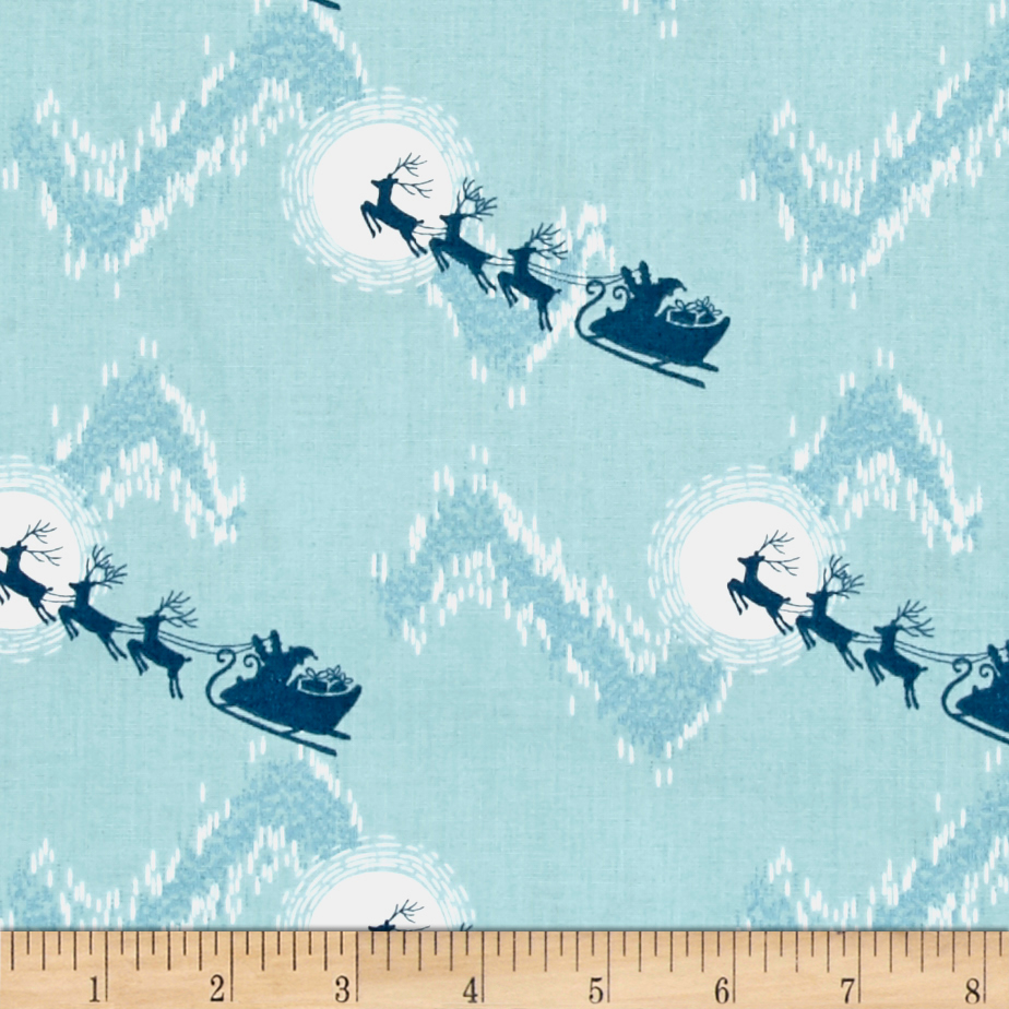 Lewis & Irene Northern Lights Metallic Dash Away All Turquoise Fabric by E. E. Schenck in USA