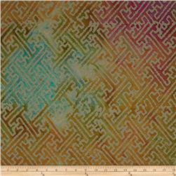 Indian Batiks Grid Teal/Rust