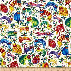 Laurel Burch Enchantment Cats & Holly Cream