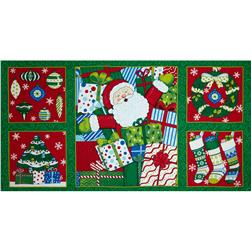Moda Ho! Ho! Ho! Panel Christmas Tree Green
