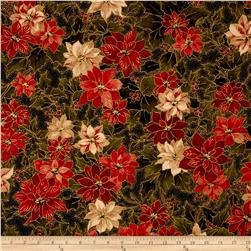 Moda Holly Night Metallic Poinsettia & Holly Ebony