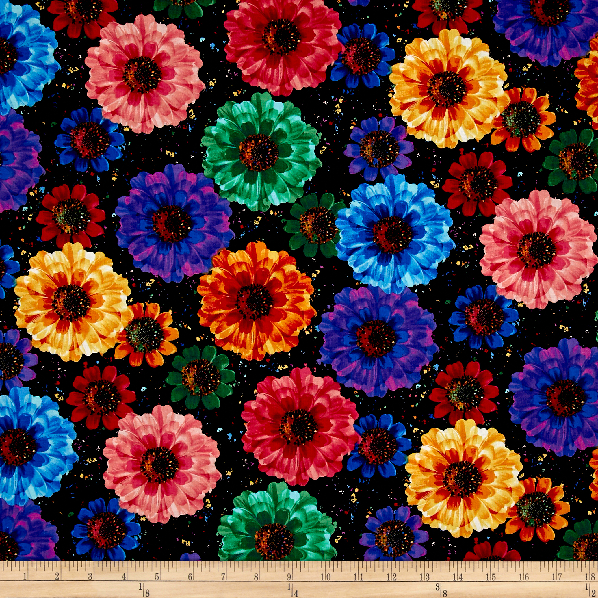 Timeless Treasures Radiance Allover Flowers Black Fabric 0477347