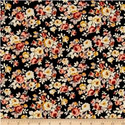 ITY Brushed Jersey Knit Mini Romantic Floral Bouquet Black/Ivory/Peach