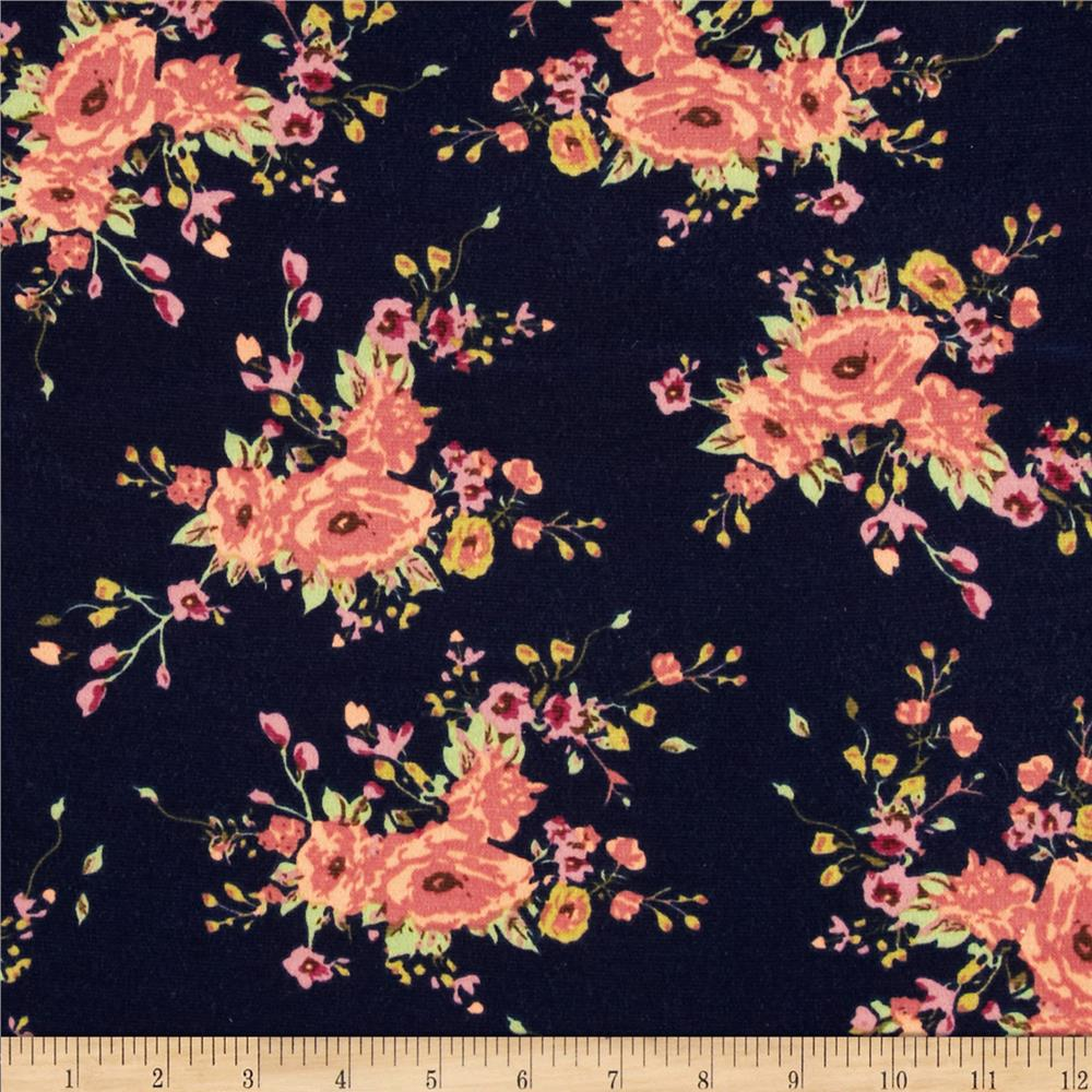 Stretch Ponte de Roma Knit Florals Black/Orange