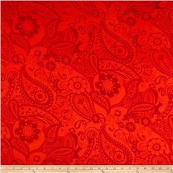 Stretch ITY Knit Paisley Red/Orange