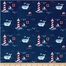 Michael Miller Minky Whales Lighthouses Navy