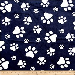 Shannon Minky Cuddle Prints Paws Navy/Snow