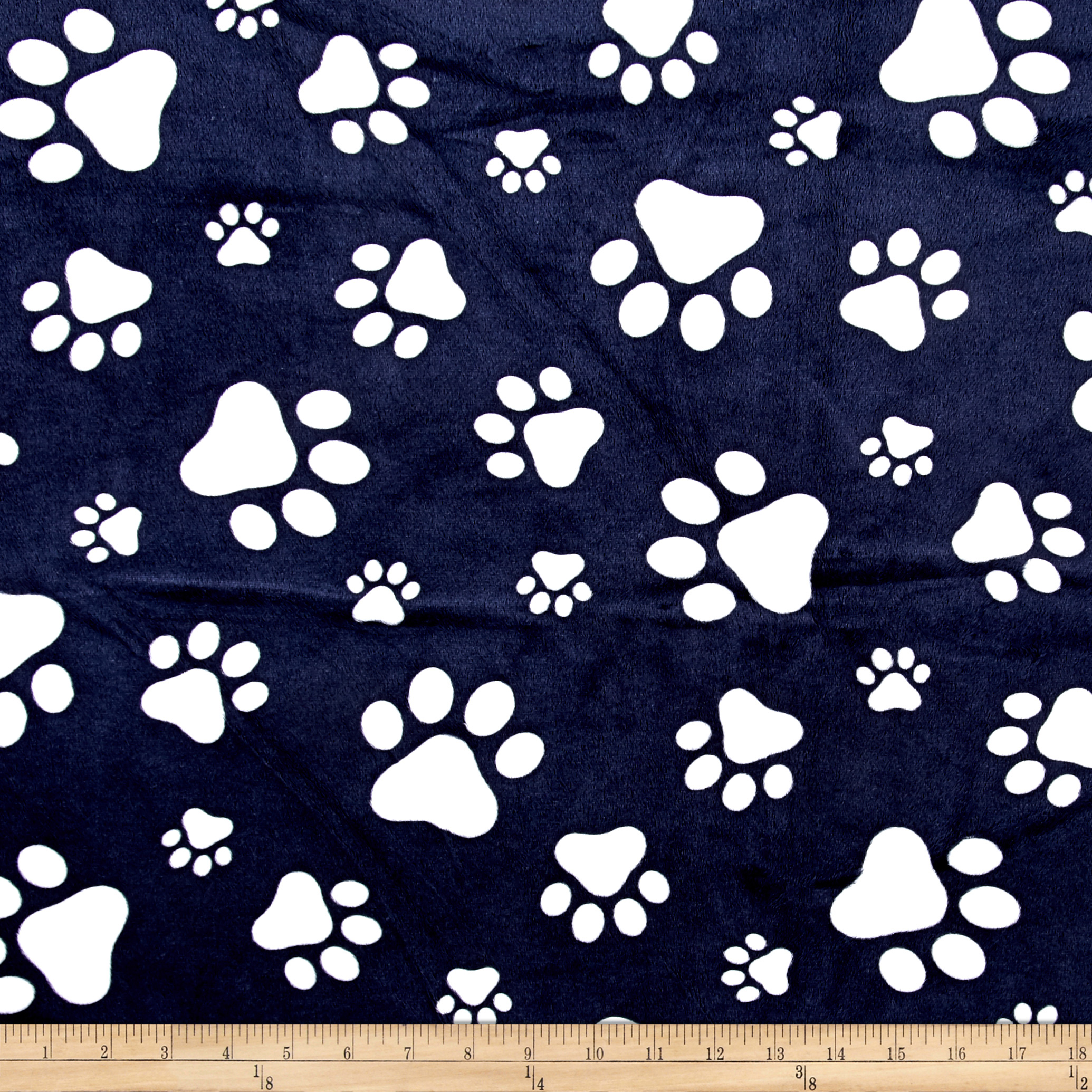 Shannon Minky Cuddle Prints Paws Navy/Snow Fabric