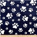 Minky Cuddle Prints Paws Navy/Snow