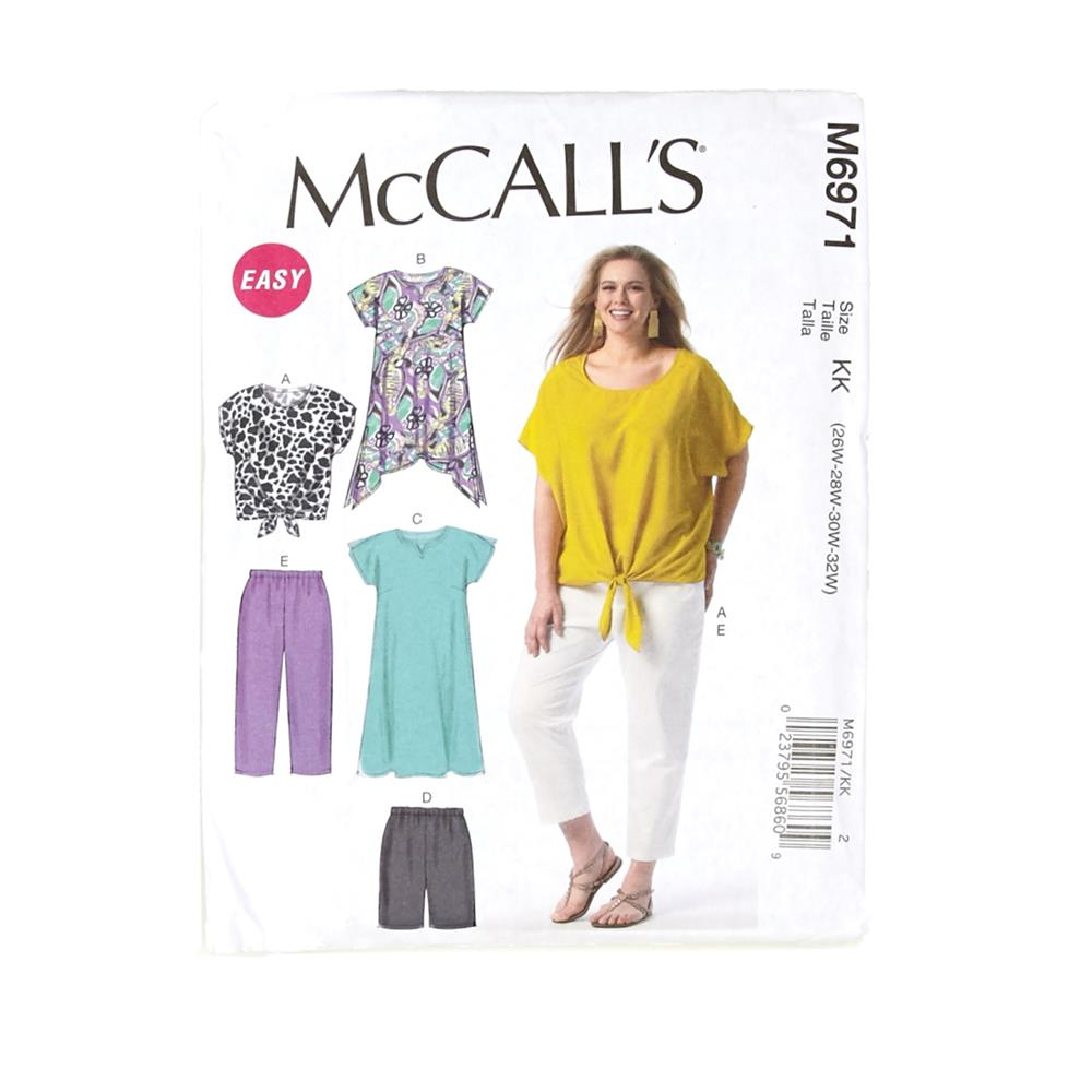 McCall's Women's Top, Tunic, Dress, Shorts and Pants Pattern M6971 Size KK0