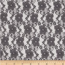 Floral Stretch Lace Smoke Grey Fabric