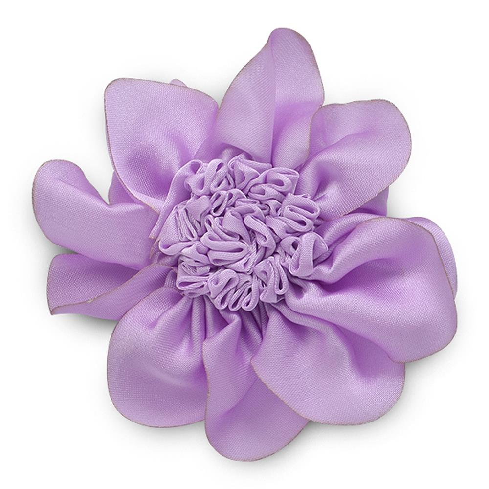 "3"" Ruched Flower Pin And Hairclip Lavender"