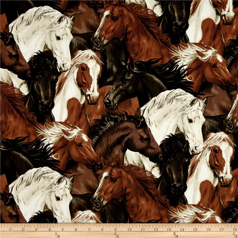 Run Free Stacked Horses Ecru Discount Designer Fabric Fabriccom