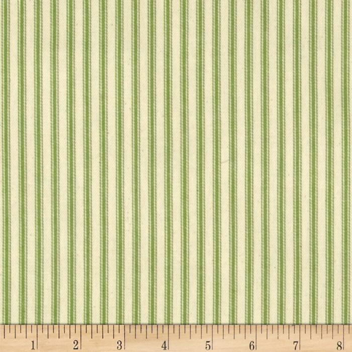 "44"" Ticking Stripe Canvas Twill Apple Green"