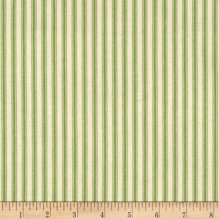 44'' Ticking Stripe Apple Green Fabric