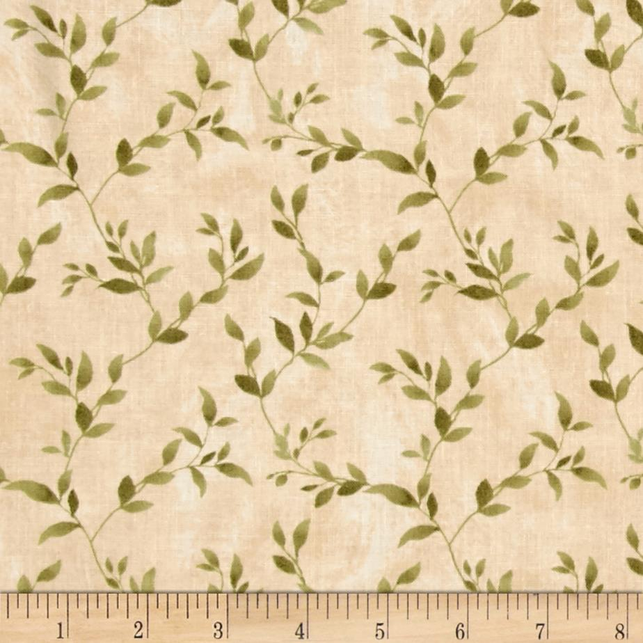 Poppy celebration leaves all over green cream discount for Green fabric