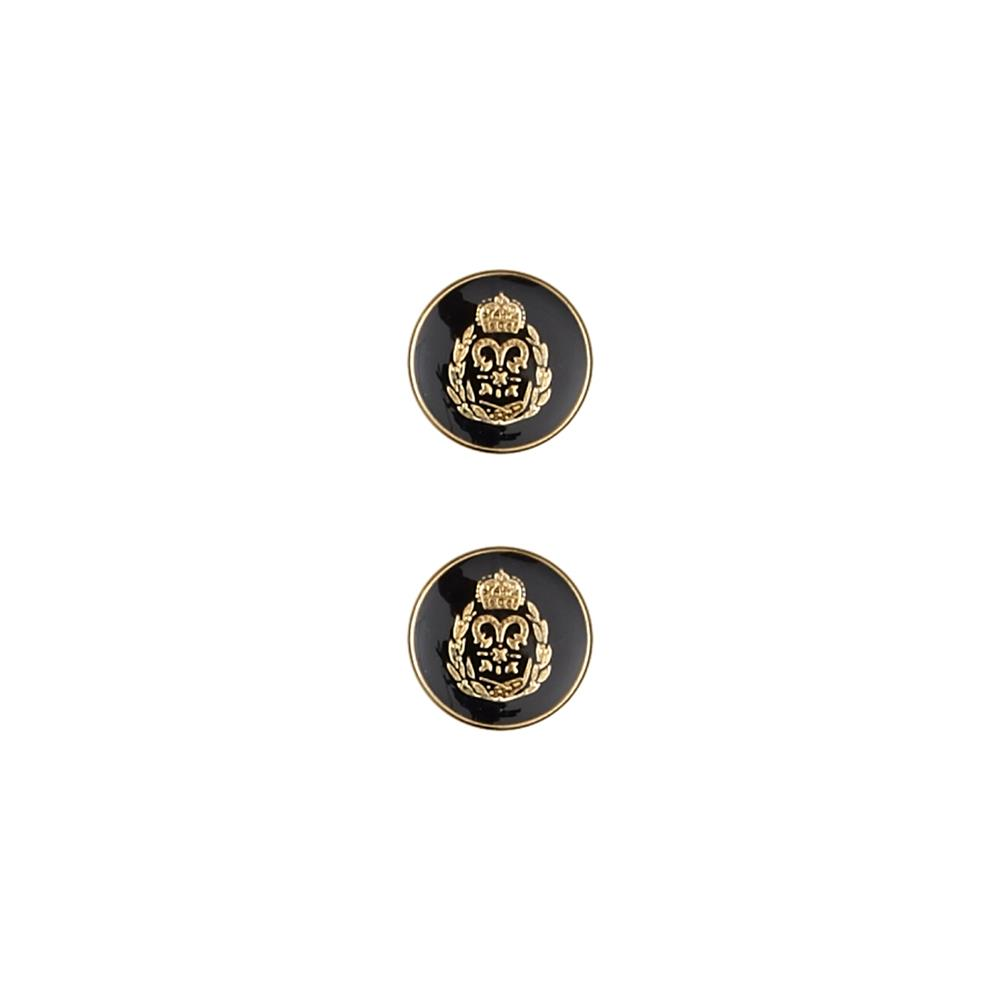 Dill Metal Button 7/8'' Enamelled Crest Navy