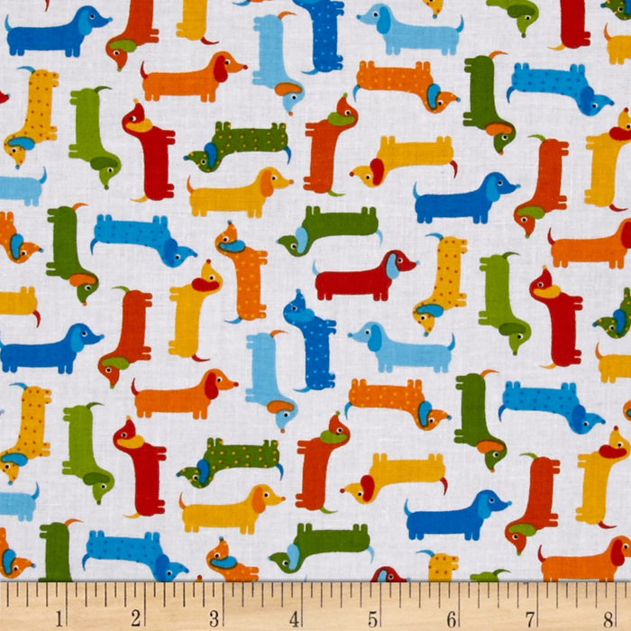 Kaufman Urban Zoologie Minis Little Weenie Dogs Bermuda Fabric