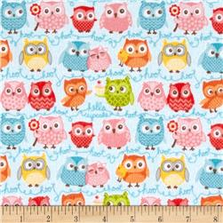 Riley Blake Tree Party Flannel Owls Blue