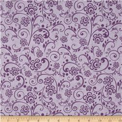 "108"" Wide Quilt Back Floral Swirl Purple"