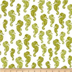 Loralie Designs Lazy Beach Seahorses Green