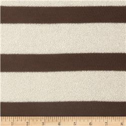 Stretch Sweater Knit Fancy Stripe Brown/White