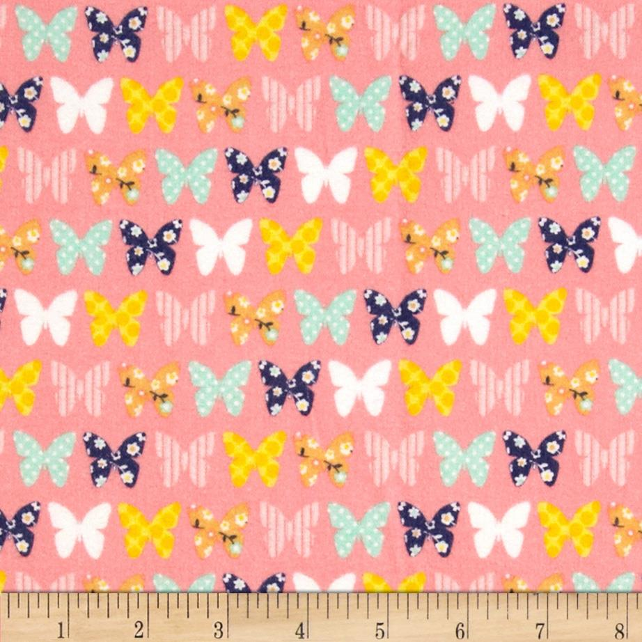 Riley Blake A Beautiful Thing Flannel Butterfly Pink