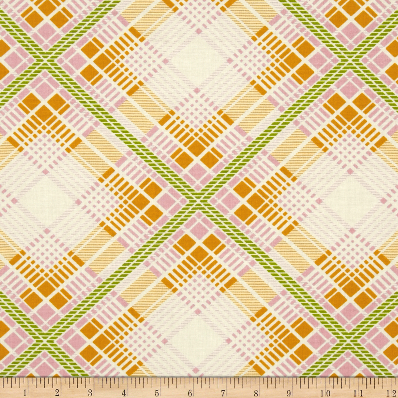 Heather Bailey Up Parasol Summer Plaid Tangerine Fabric