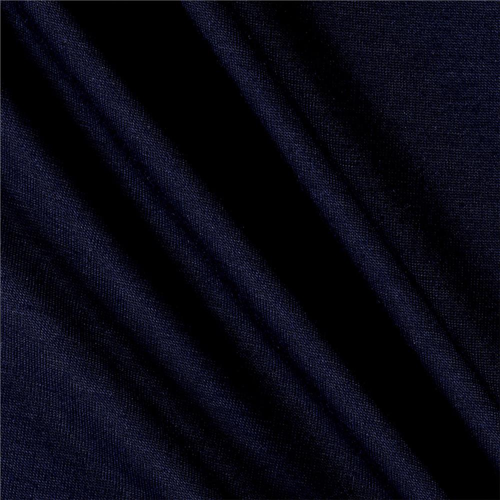 Designer Lightweight Jersey Knit Solid Navy Fabric