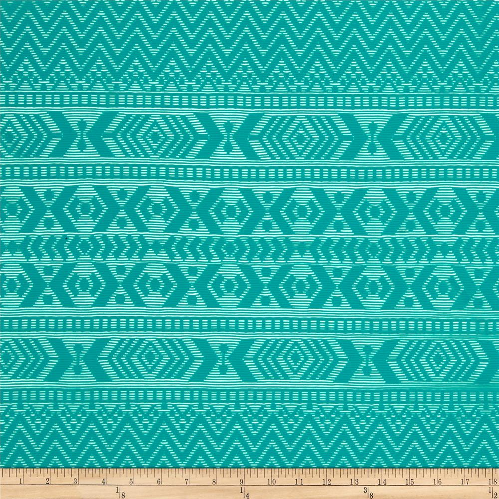 Stretch Crochet Lace Chevron Aztec Stripe Turquoise
